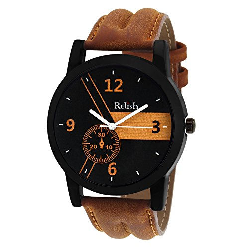 Relish Casual Analogue Tan Leather Strap Multicolour Dial Men's Watch...