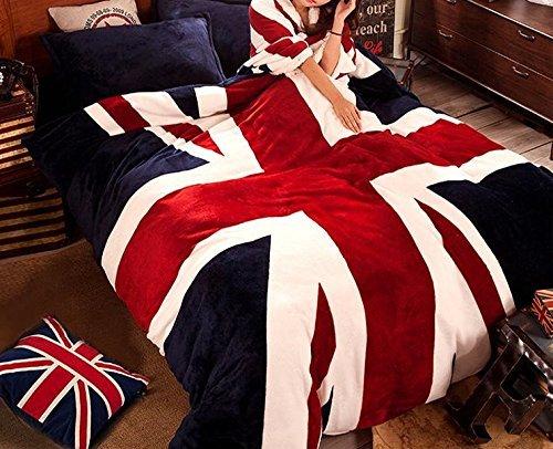シャルマンルージー 【CHARMANT ROUJOIE】 かっこいい お 部屋 に ぴったり ! 国旗 柄 ベッド 用 掛け布団 ・ カバー シーツ ・ 枕 カバー 2枚 ・ アイマスク 【5点セット】 ダブル 用 (イギリス国旗柄)