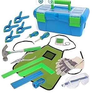 Kids 18 piece tool Kit with Tool Box with Bonus Birdhouse Project (1)
