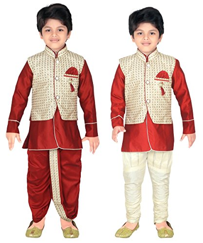ahhaaaa Kids Indian Ethnic Waistcoat, Kurta, Breaches and Dhoti Pant Set for Baby Boys