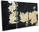 Bold Bloc Design - Map Game of Thrones Movie Greats 120x80cm TREBLE Canvas Art Print Box Framed Picture Wall Hanging - Hand Made In The UK - Framed And Ready To Hang