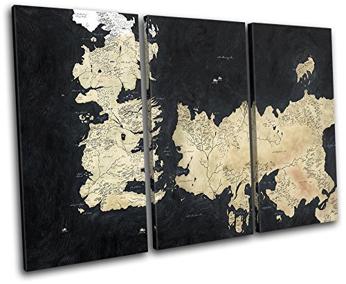 Bold Bloc Design - Map Game of Thrones Movie Greats 150x100cm TREBLE Canvas Art Print Box Framed Picture Wall Hanging - Hand Made In The UK - Framed And Ready To Hang by Bold Bloc Design