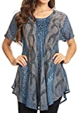 Sakkas 18704 - Amanda Flowy Summer Casual Blouse Top Stonewashed with Embroidery & Corset - Steel Blue - OSP