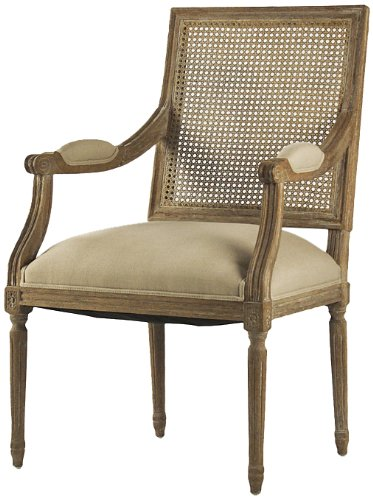 (Zentique Louis Arm Chair with Cane Back, Limed Grey Oak Natural Linen)