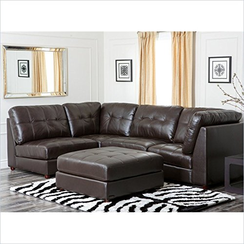 Abbyson Living Sonora Top Grain Leather Modular Sectional in Brown
