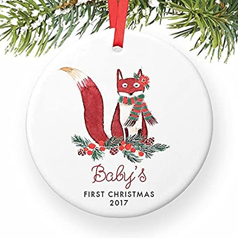 Xmas Tree Decorations Babys First Fox Woodland Daughter Girl Babies Newborn Dated Cute Family Foxes Present