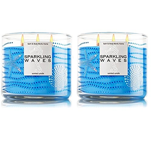 SPARKLING WAVES Bath & Body Works 3 Wick Scented Glass Candl