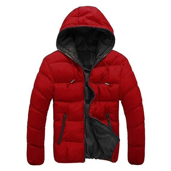 e320b64e4781 Innersetting Men Hooded Jacket Coat Winter Padded Thick Outwear (Red+Black  M)