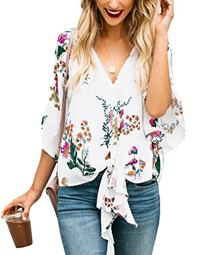 Women's Casual V Neck Tie Knot T-Shirt Button Down Short Sleeve Ladies Blouse Tops White 12 ()