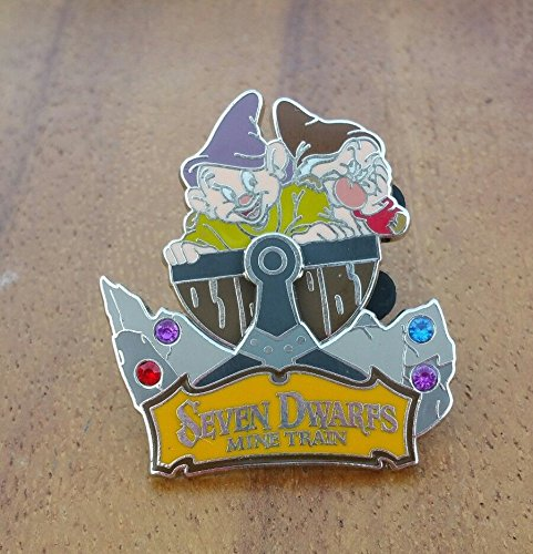 Disney Seven Dwarfs Mine Train with Dopey & Grumpy 3-D Movable Jeweled Pin