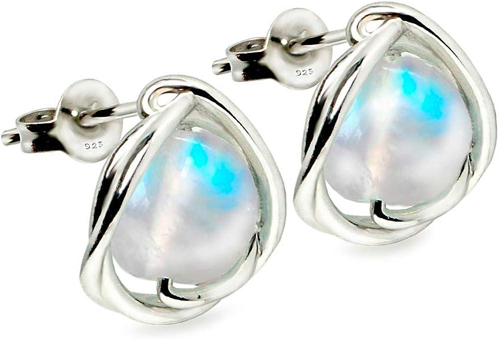 Pendientes de plata de ley 925 con arco iris, redondos, piedra de luna, piedras preciosas para mujeres y chicas