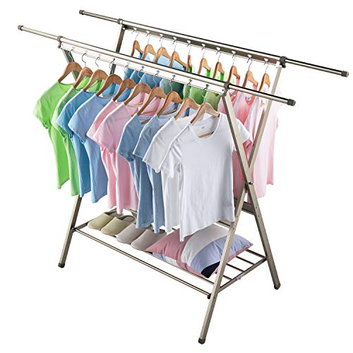 SINGAYE Clothes Rack Folding Retractable Aluminum Alloy Garment Drying Racks for Easy Storage, Rust-Proof for Indoor and Outdoor Use(Champagne Gold)