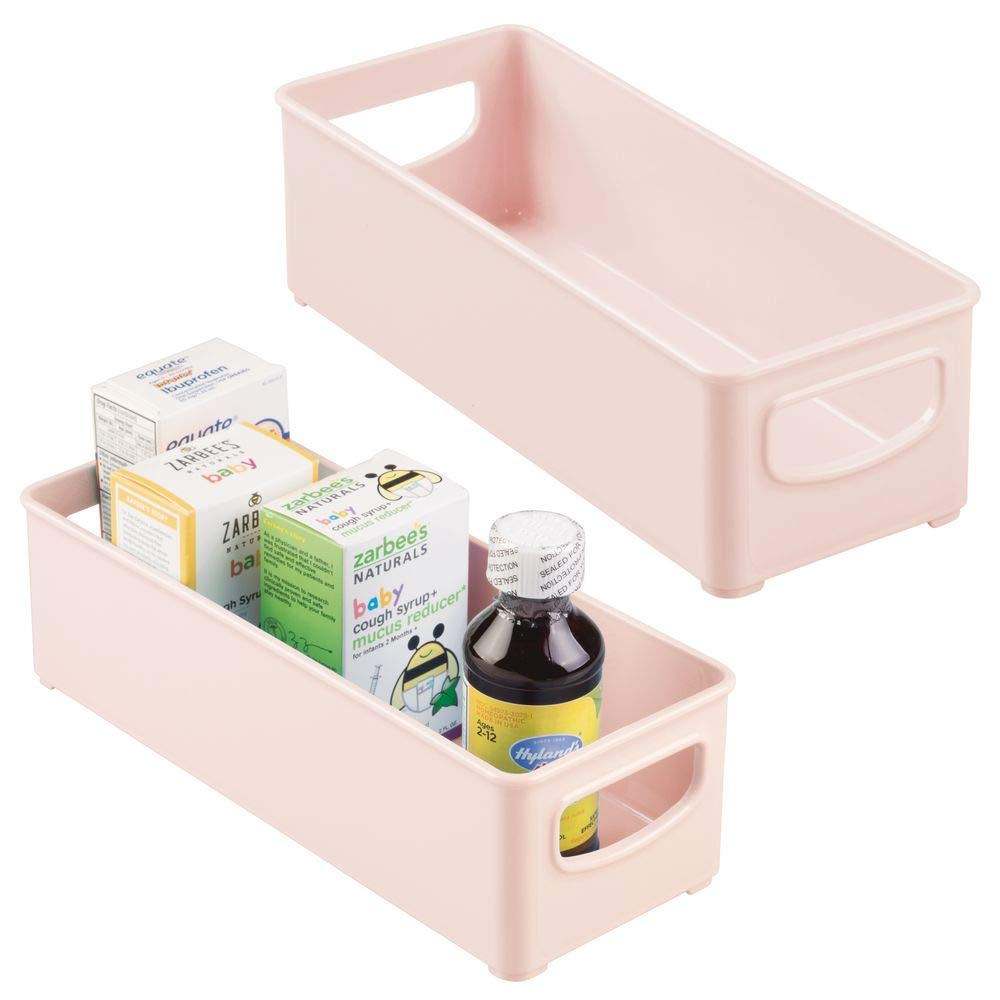 mDesign ベビーフードキッチン冷蔵庫キャビネットまたはパントリーストレージオーガナイザー容器 ハンドル付き 母乳/ポーチ/ジャー/ボトル/フォーミュラ/ジュースボックス用 - BPAフリー 10 x 4 x 3インチ 2個パック - ライトピンク   B07LC4ZDL7