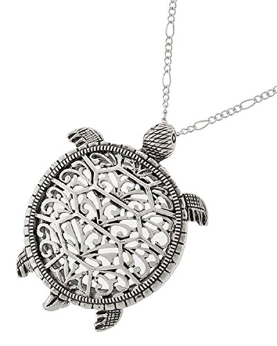 Sea Turtle Magnifier Magnifying Glass Sliding Top Magnet Pendant Necklace, 30'' (Silver Tone) by Artisan Owl
