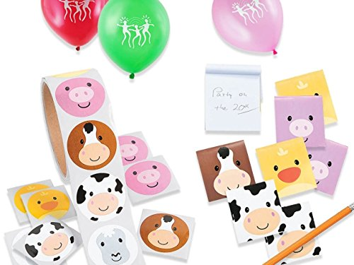 Farm Animal Character Favor Treat Pack with 24 Assorted Animal Face Notepads and 100 Barnyard Animal Stickers by 2Party