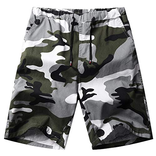 (Men's Drawstring Elastic Shorts Summer Beach Casual Classic Fit Short Pants Camouflage Printed Walk Short by Lowprofile)