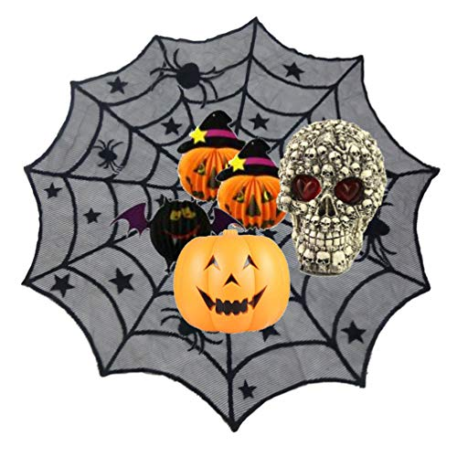 Halloween Decoration Spider Web Tablecloth,40-Inch Round Polyester Lace Table Cover Topper for Halloween Home Dinner Parties