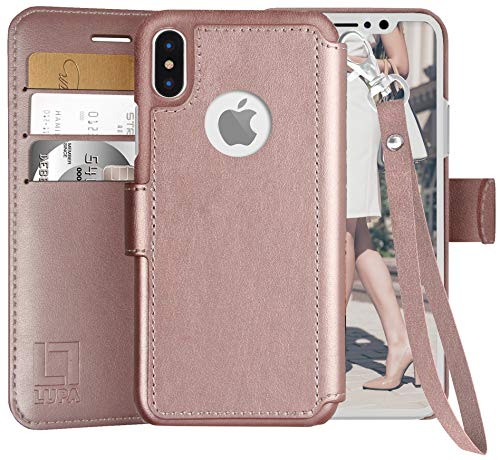 LUPA iPhone Xs wallet case,iPhone X Wallet Case with Lanyard, Durable and Slim, Lightweight with Classic Design & Ultra-Strong Magnetic Closure, Faux Leather, Wristlet Rose Gold, For Apple iPhone Xs/X