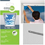 easy life Insect Protection for Skylights 140 x 170 cm - Mosquito net with zip and 5.6 m velcro - Perfect, simple and fast protection against mosquitoes, Colour:Anthracite