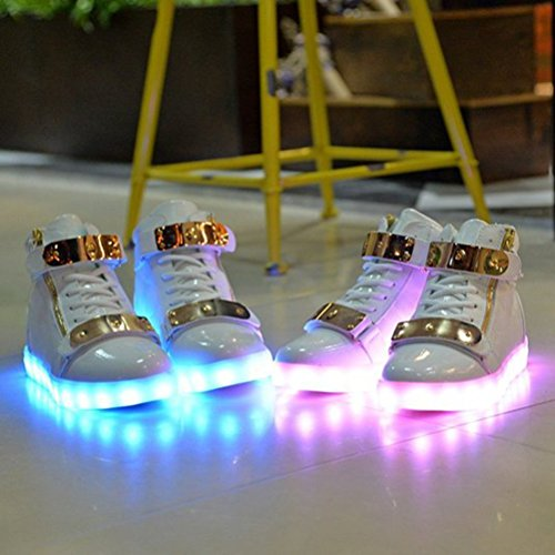 [Present:small towel]JUNGLEST 7 Colors Led Trainers High Top Light Up Shoes For Unisex Mens and Unise White NIOc1f4c7