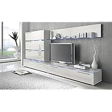 Liren White - Contemporary Wall Unit / European Entertainment Center / Design Furniture with LED Lights (White)
