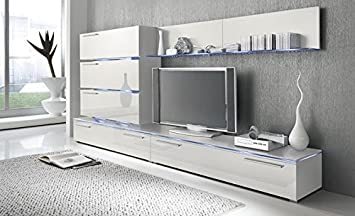 Liren White   Contemporary Wall Unit   European Entertainment Center    Design Furniture with LED LightsAmazon com  Liren White   Contemporary Wall Unit   European  . Contemporary Wall Units For Living Room. Home Design Ideas
