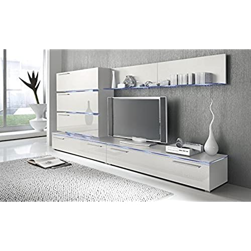 Liren White   Contemporary Wall Unit/European Entertainment Center/Design  Furniture With LED Lights (White)