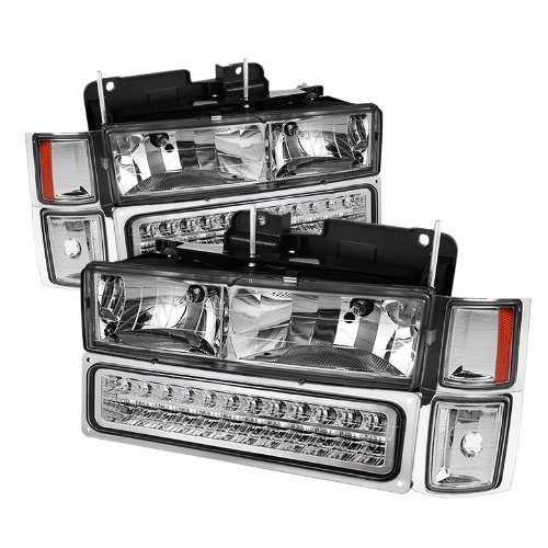 Chevy C/k Series 1500/2500/3500 / Chevy Tahoe /C/k Series 1500/2500/3500 / Chevy Silverado / Chevy Suburban / Chevy Suburban Crystal Headlights w/ Corner & Bumper Chrome Housing with Clear (Chevy Silverado K1500)