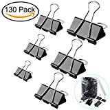 #10: ExcelFu 130 Pcs Binder Clips Paper Clamp Clips Paper Binder Assorted 6 Sizes, Black