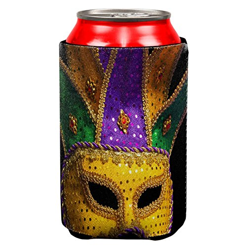 Mardi Gras Mask All Over Can Cooler Multi Standard One - Shirts Camp Carnival