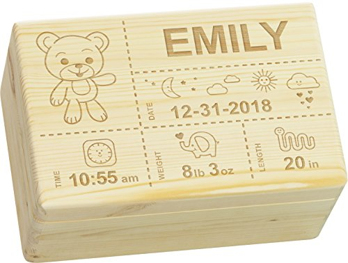LAUBLUST Engraved Wooden Memory Box - Size L, 12x8x6in - ❤️ Personalized ❤️ Baby Keepsake Box - Teddy Design | Natural Wood - Made in ()