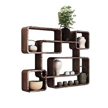 WOODJU Repisa flotante de madera de celosía de celosía portavasos soporte de exhibición multifunción marrón oscuro 76x10x56cm: Amazon.es: Bricolaje y ...