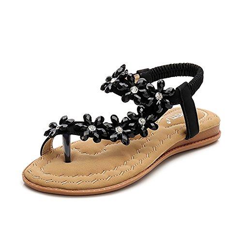 (Meehine Women's Elastic Sparkle Flip Flops Summer Beach Thong Flat Sandals Shoes(8.5 B(M) US,Black 01))