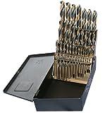 """TopLine Drill Bit Set, M7 Ground Steel 29pcs 1/16""""-1/2"""" & Huot USA Index, Black & Gold Finish"""