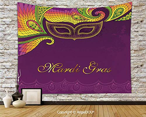 (AngelDOU Mardi Gras Soft Fabric Durable Tapestry Wall Hanging Colorful Lace Style Corner Ornaments Calligraphy and Dotted Mask Design Decorative Wall Art Hippie Tapestry.W70.8xL59(inch))