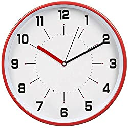 hito Silent Wall Clock Non ticking 12 inch Excellent Accurate Sweep Movement Magnetic Metal Frame, Vintage While Modern Decorative for Kitchen, Living Room, Bathroom, Bedroom, Office, Classroom (Red)