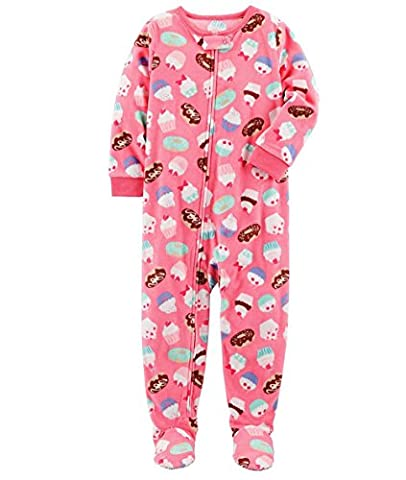 Carter's Girl's Pink Cupcake and Doughnut Print Fleece Footed Pajama Sleeper (4T) - Pink Cupcake Print