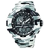 Mens Dress Watch Q&Q GW86J006Y Quartz Analog Wrist Watch Camouflaged Grey PU Band, Waterproof Scratch