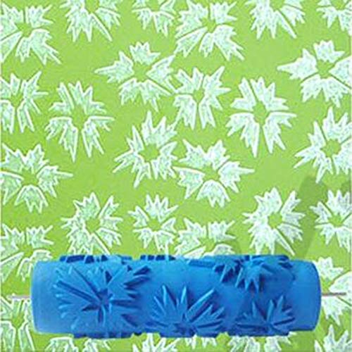 (HATCHMATIC 7inch 3D Rubber Wall Decorative Tool Painting Roller, Leaves Patterned Paint Roller Without Handle Grip,)