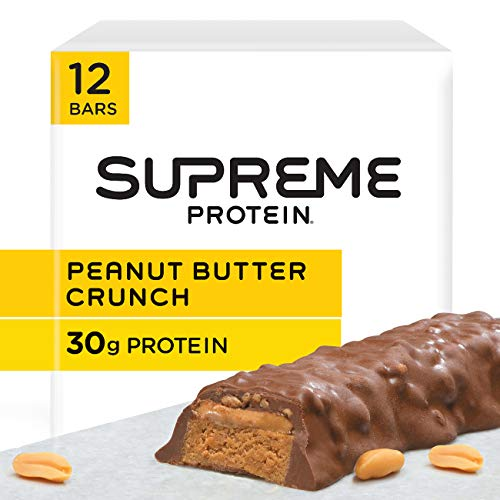 Supreme Protein 30g Protein Bar, Peanut Butter Crunch, 3.38 fl oz Bar, (12 Count) Bar Peanut Butter Caramel