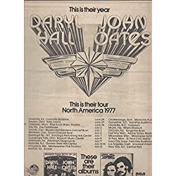 --PRINT AD-- With Hall & Oates For 1977 Concert Tour Promo --PRINT AD--