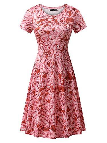 FENSACE Womens Short Sleeves Casual A-line Halloween Pumpkin Dress (Large, 17038-13)]()