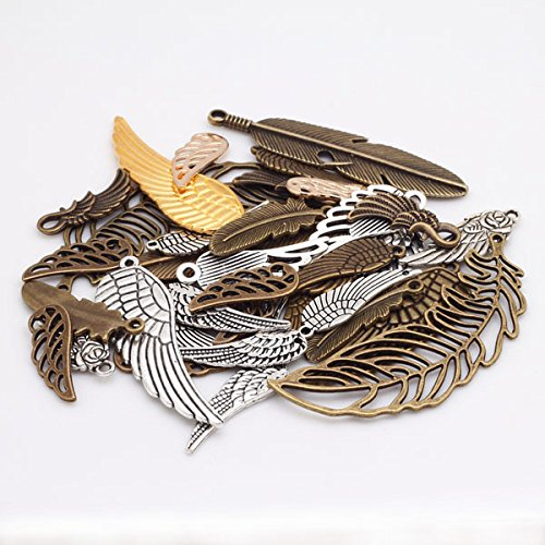 Gutapo 100g Feather and Wing Punk Steampunk Charm Pendant for Necklace Bracelet Anklet DIY Kits Crafting Jewelry Making Accessories Gift Deco