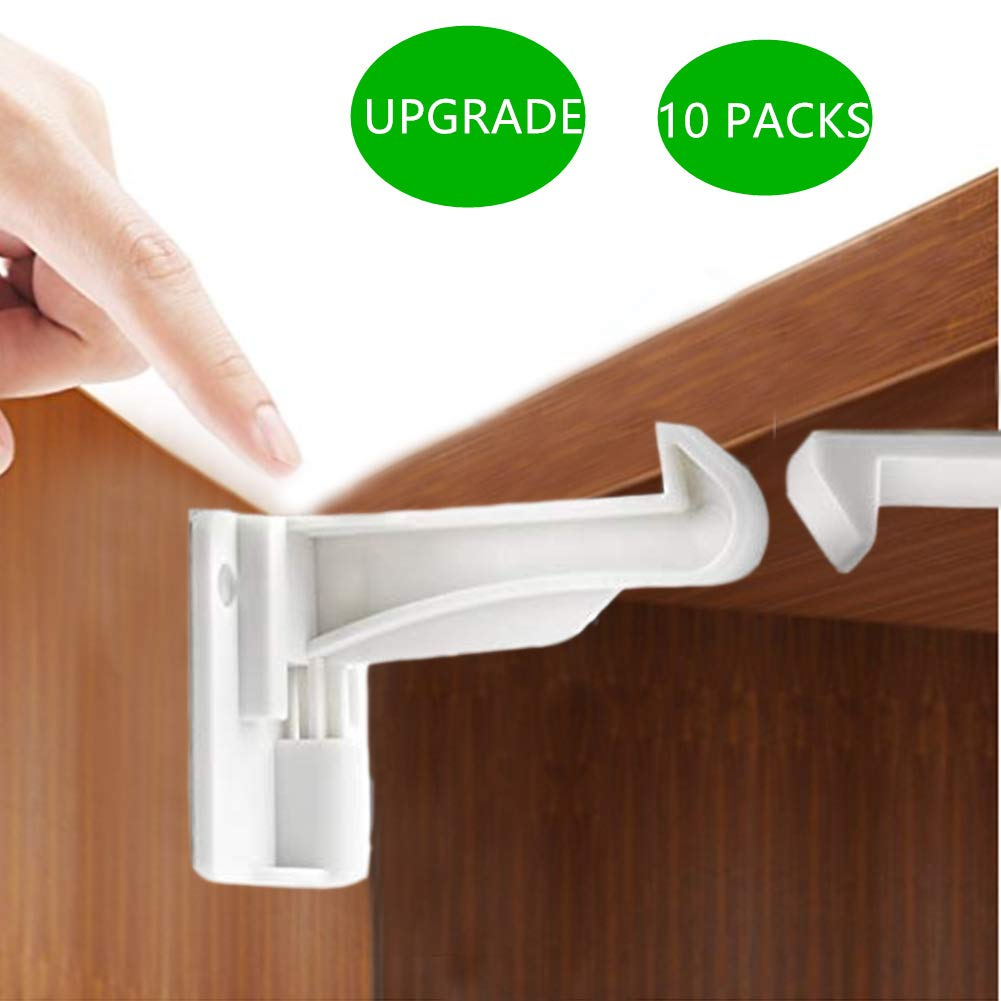 Cabinet Locks Child Safety Latches - 10 Pack Baby Proofing Cabinets Drawer Lock with Adhesive, Easy to Install - No Drill No Screw Fixed (10 Pack) (White)