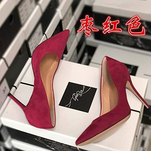 De Las del Alto Gamuza De Aguja Tacón Yukun Negro Aguja Mujeres Solo De De De tacón del de De Tacón 10Cm zapatos Zapatos De alto Tacón Red Alta Jujube 40 Otoño PU Profesional Gama De Negro La gg16w