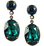 Liz Palacios Antique Gold Plated Swarovski Crystal Oval Dangle Stud Earrings
