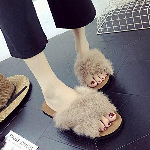 cool fankou trasversale taglio Cross outdoor estivo marrone moda esposta con di femmina 35 antiscivolo calzature piatto e pantofole fondo RR5qrwHUn