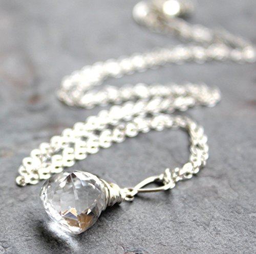 Clear Crystal Quartz Necklace Sterling Silver Trilliant Gemstone Faceted Briolette Pyramid 20 Inches ()