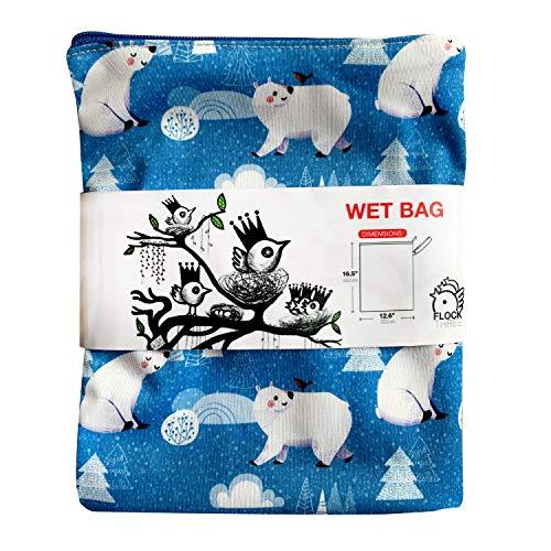 51BNJlcDM L - FLOCK THREE Waterproof And Reusable Wet Bag Diaper Stroller Water Resistant Swimsuit Travel Toiletries Yoga Gym Washable Carrier Polar Bear Large 12.6'' X 16.5''