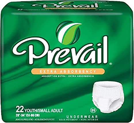 Count of 22 Prevail® Extra White Small Absorbent Underwear 20 to 34 Inch